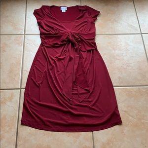 Motherhood Maternity Wine Tie-Waist Dress Small